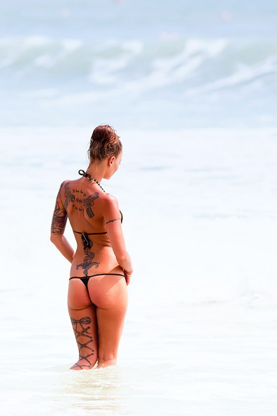 Gun tattoos Bikini girl with